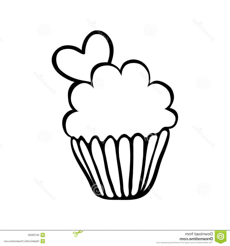 957x1024 Simple Cupcake Drawing Valentine Cupcake Sketch With One Heart