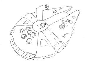 300x225 Spaceship Coloring Pages Simple Millenium Falcon Star Wars Ship