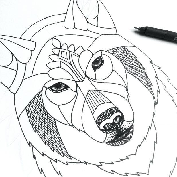 618x618 Wolf Girl Outline By Winged Drawing Face Pup Simple Wolf Outline