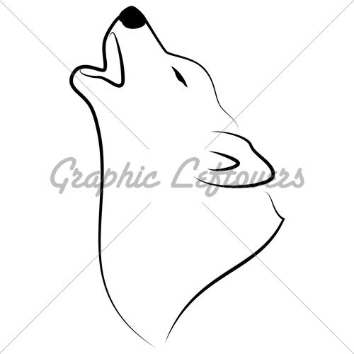 500x500 Drawn Howling Wolf Easy
