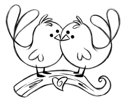 532x437 Lovebird Clipart Simple Bird