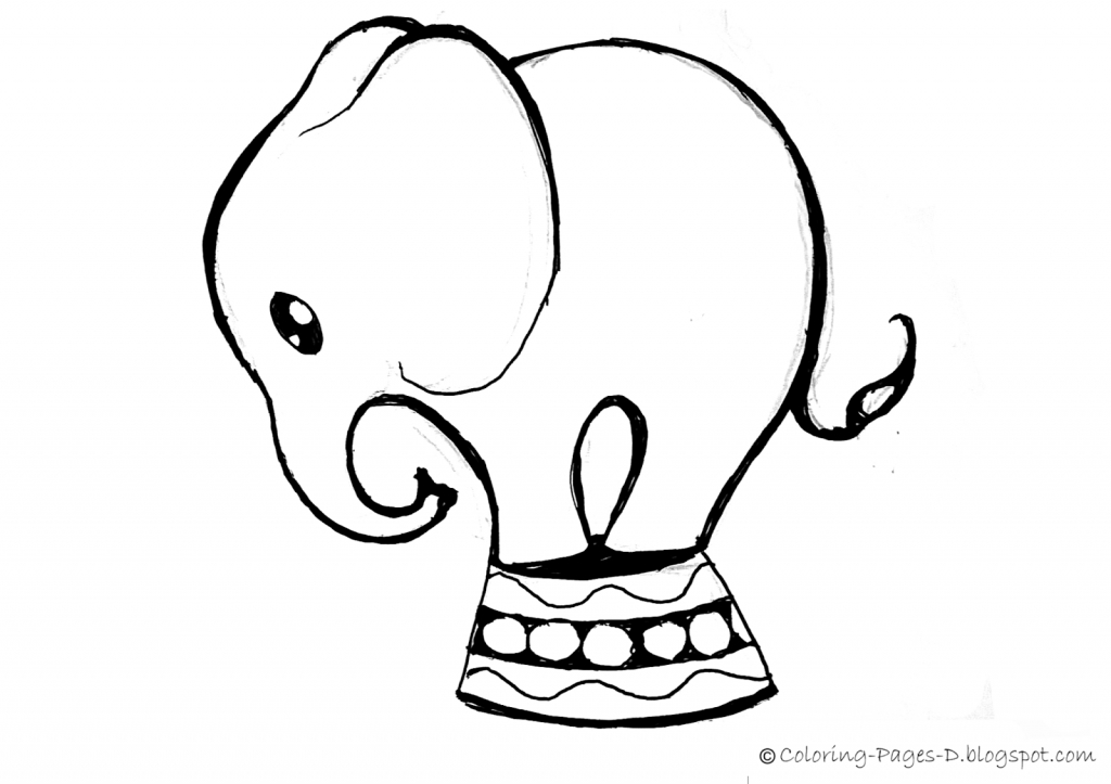 1024x723 Easy Elephant Drawing Coloring Pages D Free