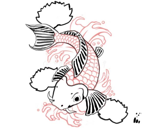 600x500 Koi Fish Drawings