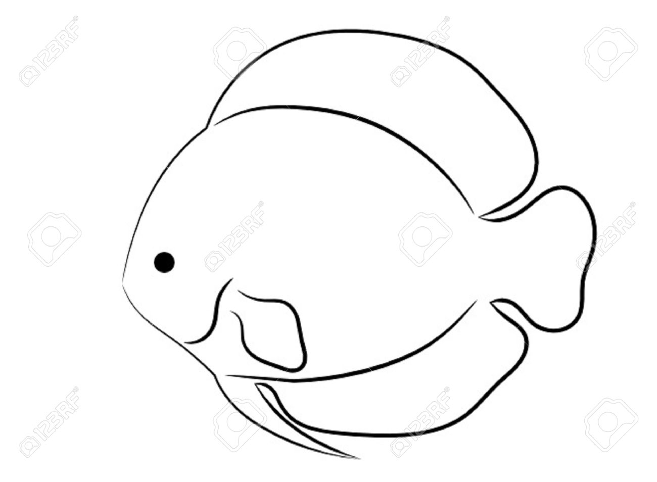 1300x954 Rounded Tropical Fish Simple Outline Isolated On White Background