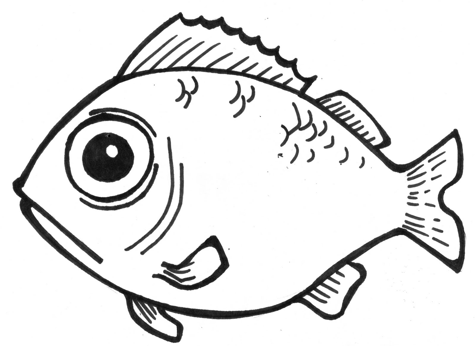 1600x1167 Simple Drawing Of A Fish Coloring Page Fish Drawings For Kids