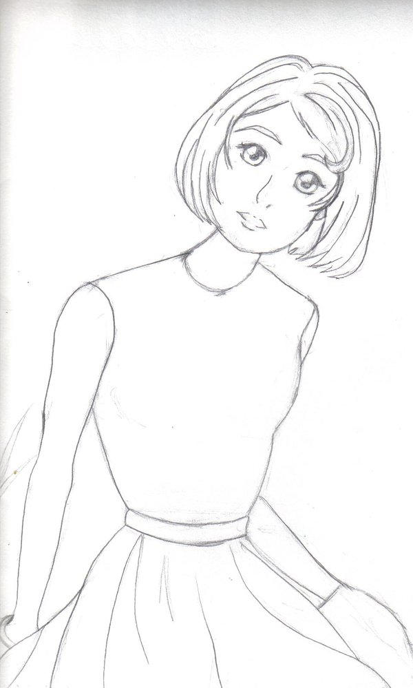600x999 1960's Anime Girl Sketch By Sweetheartpucca