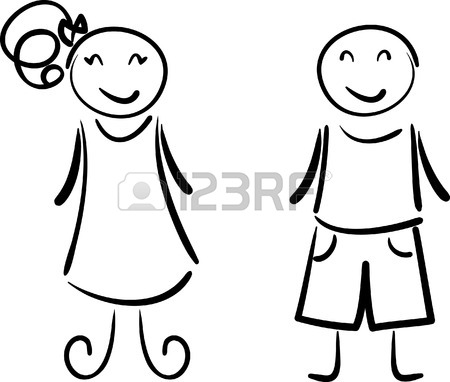 450x382 Simple Drawing Of Happy Boy And Girl Royalty Free Cliparts
