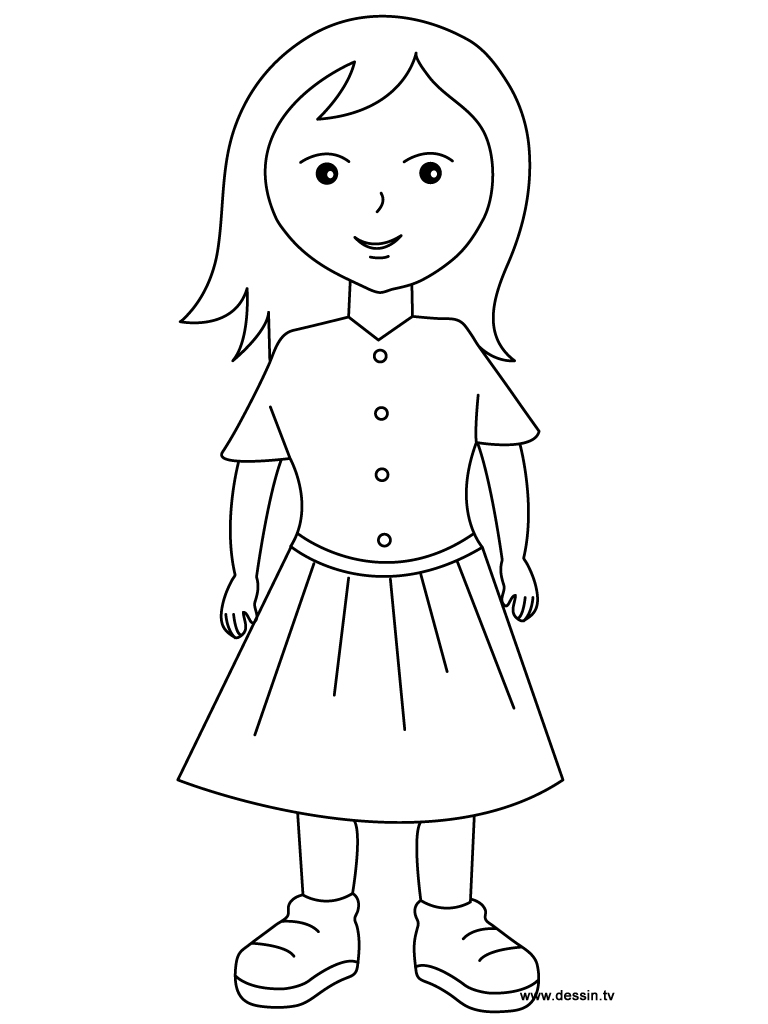768x1024 Simple Drawing Of Little Girl Girl Coloring Pages For Girls