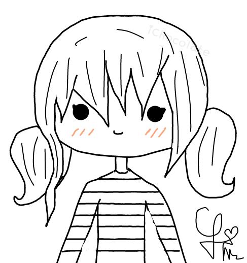 487x518 Simple Girl Sketch By Carolinachocofreak
