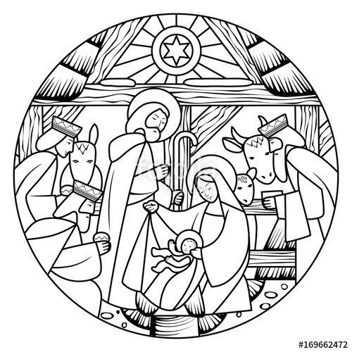 500x500 Linear Drawing Of Birth Of Jesus Christ Scene In Circle Shape