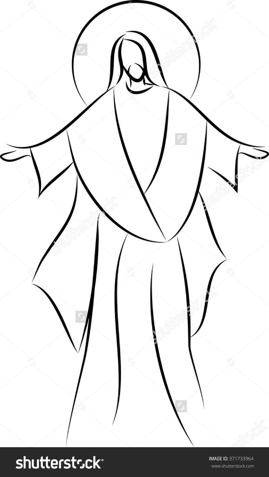 905x1600 Stock Vector Jesus Christ Simple Line Drawing Vector Illustration