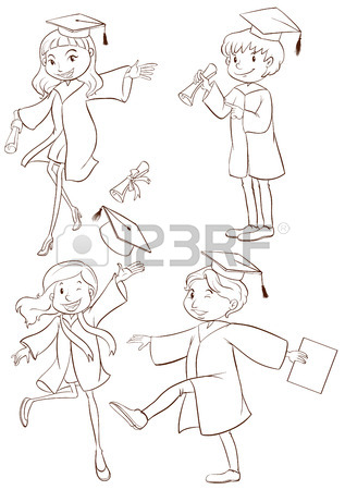 317x450 A Simple Drawing Of A Graduation Ceremony On A White Background