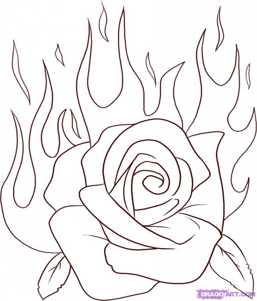 875x1024 Simple Rose Drawing Simple Step Rose Drawings Simple Rose Drawing