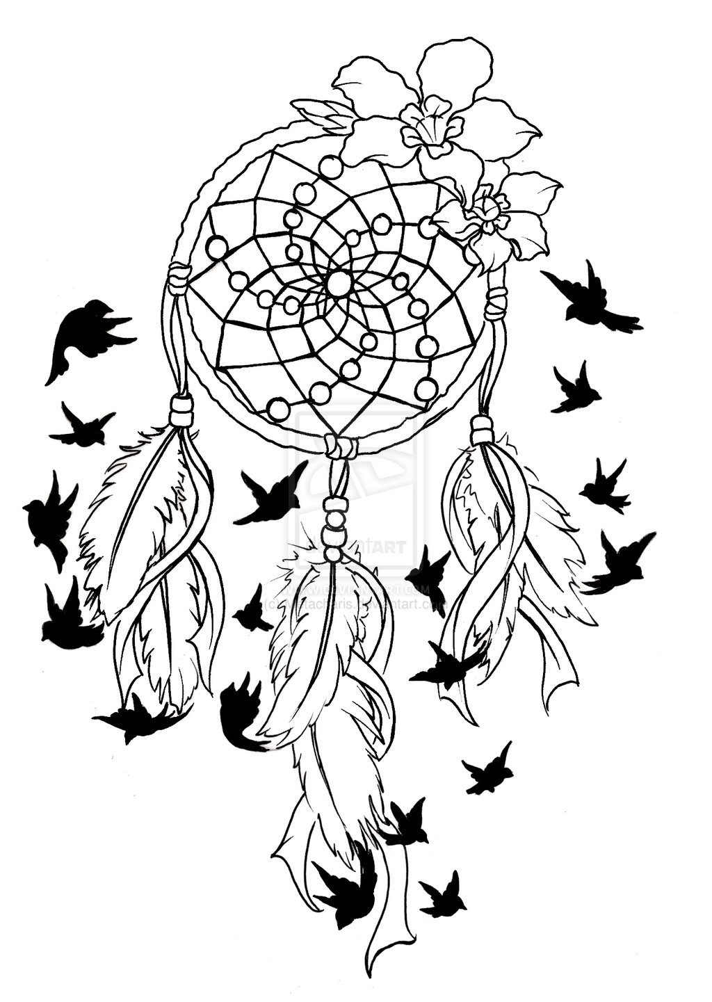 Simple Dream Catcher Drawing