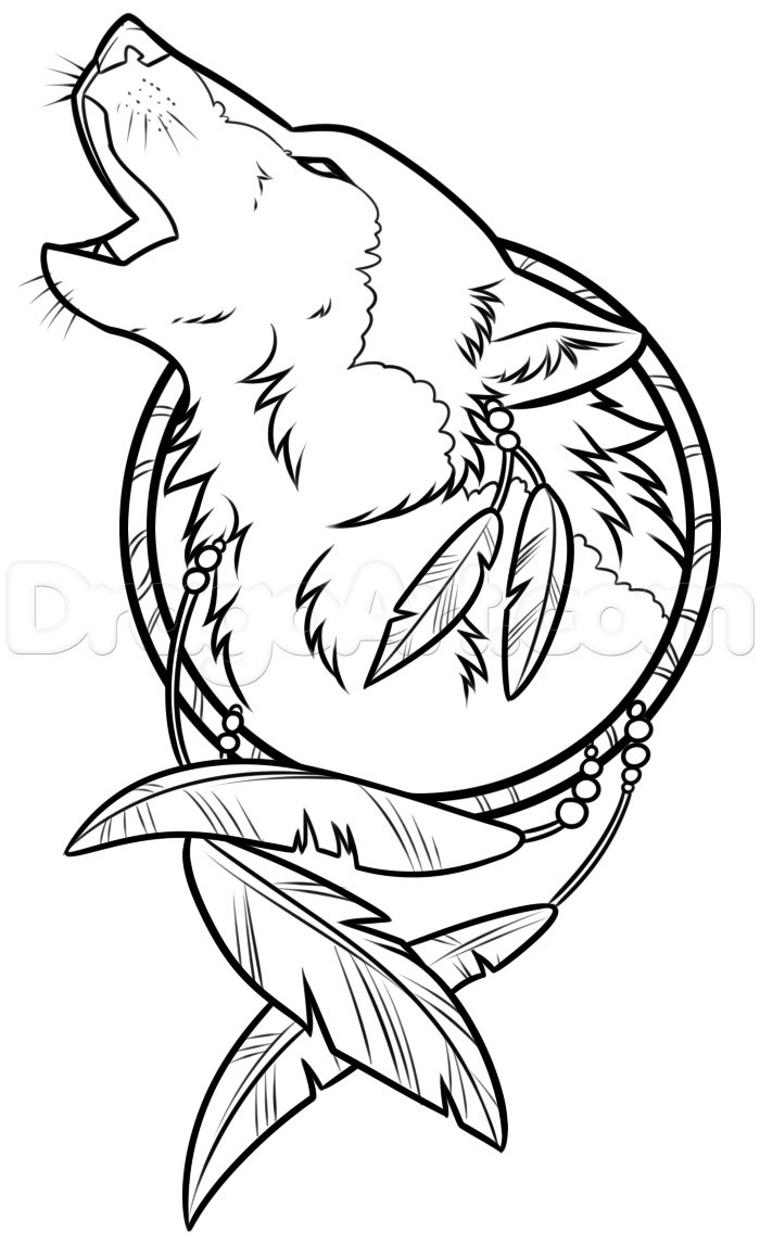 700x1147 Drawing A Wolf Dreamcatcher, Step By Step, Concept Art, Fantasy