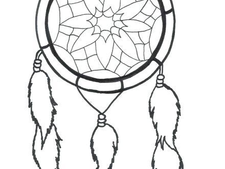 440x330 Dreamcatcher Coloring Pages Native Mandala Simple Dream Catcher