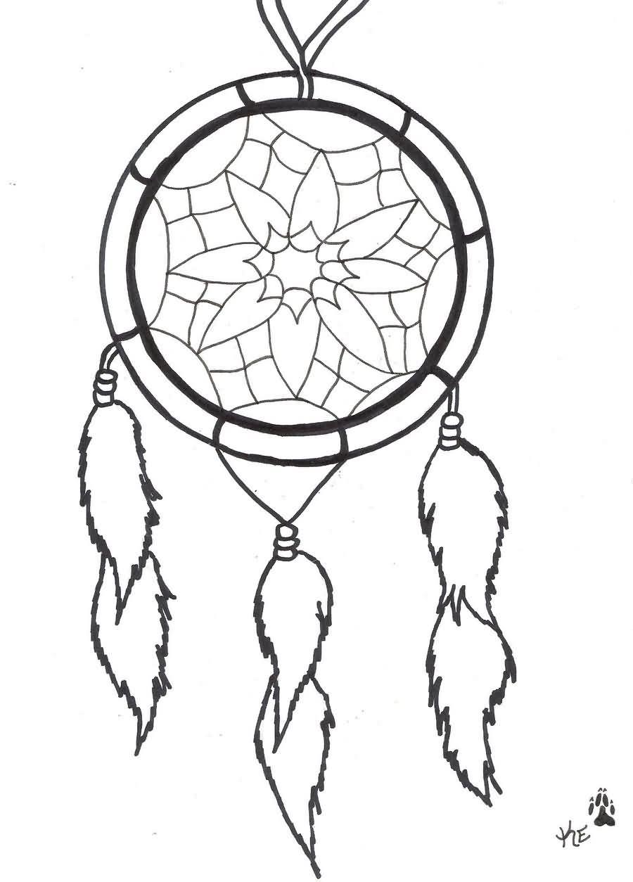 900x1254 Outline Simple Dreamcatcher Tattoo Design