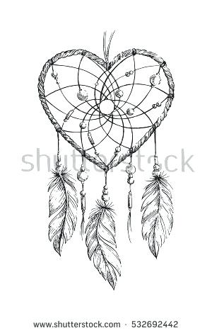 300x470 Dream Catcher Coloring Pages Hand Drawn Ethnic Heart Coloring Page