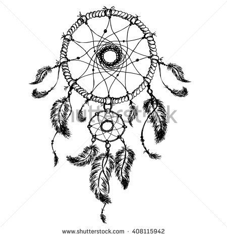 450x470 Dream Catcher Isolated On White Background, Hand Drawn Vector