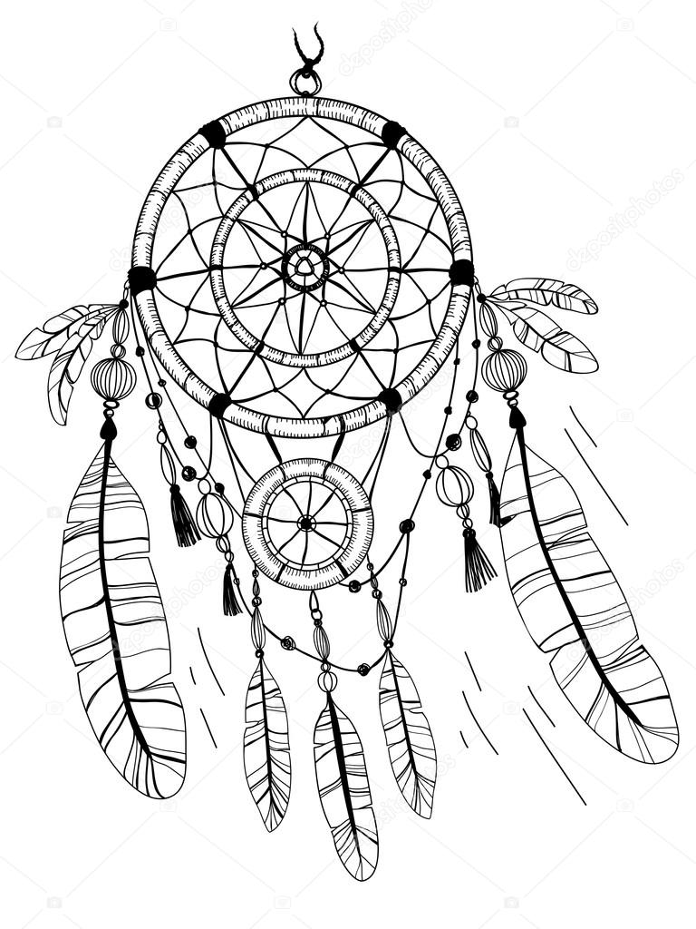 Simple dreamcatcher drawing at free for for Mandala facili da disegnare