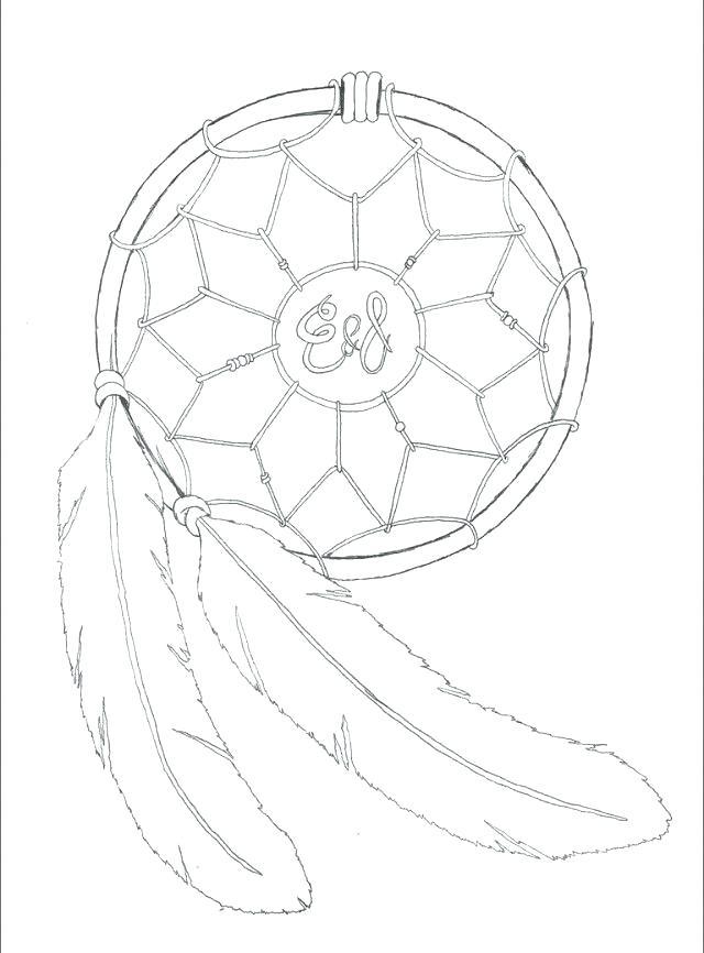 640x866 Dreamcatcher Coloring Pages Native Mandala Simple Dream Catcher
