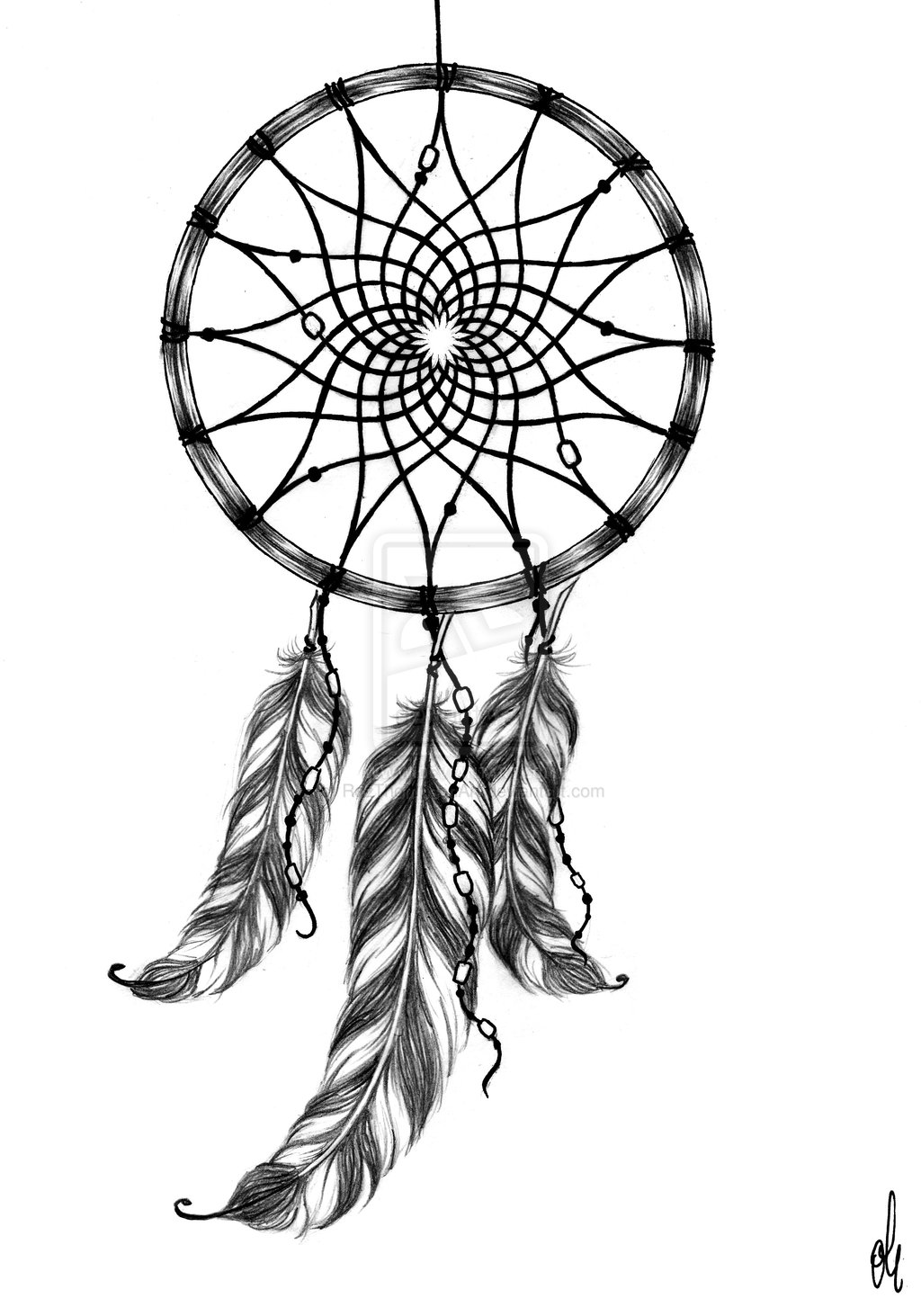 1024x1463 Fantastic Dreamcatcher Tattoo Design
