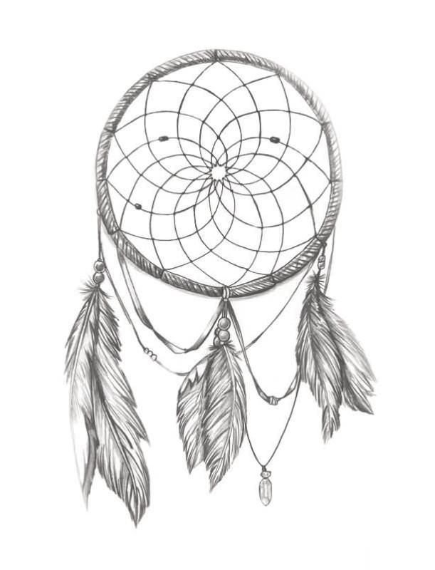 611x800 Amazing Simple Dream Catcher Flower Tattoo Design