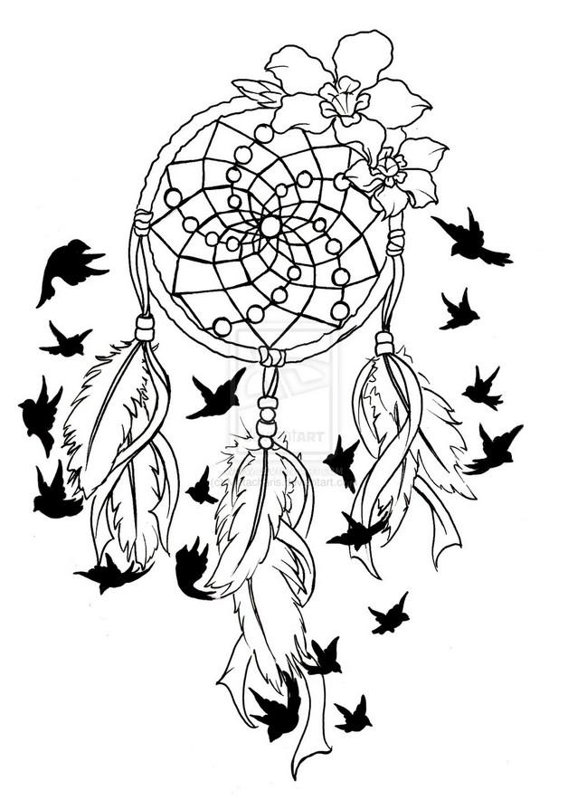 628x884 Feather Dream Catcher Tattoo Stencil