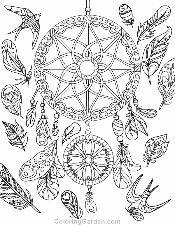 600x776 Free Printable Dreamcatcher Adult Coloring Page Download It