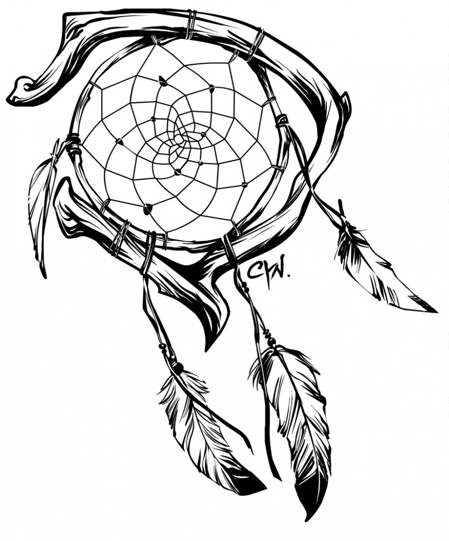 900x1084 Collection Of Dream Catcher Lineart Tattoo