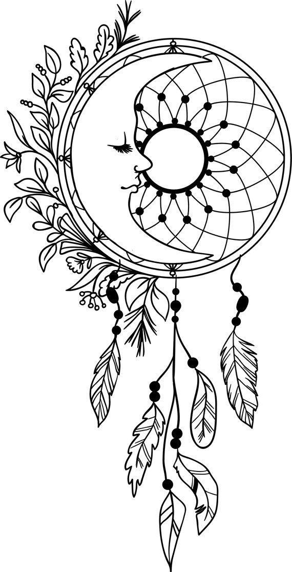 570x1116 Tatto Moon Dream Catcher Feathers Vinyl Decal Dreamcatcher Mandala
