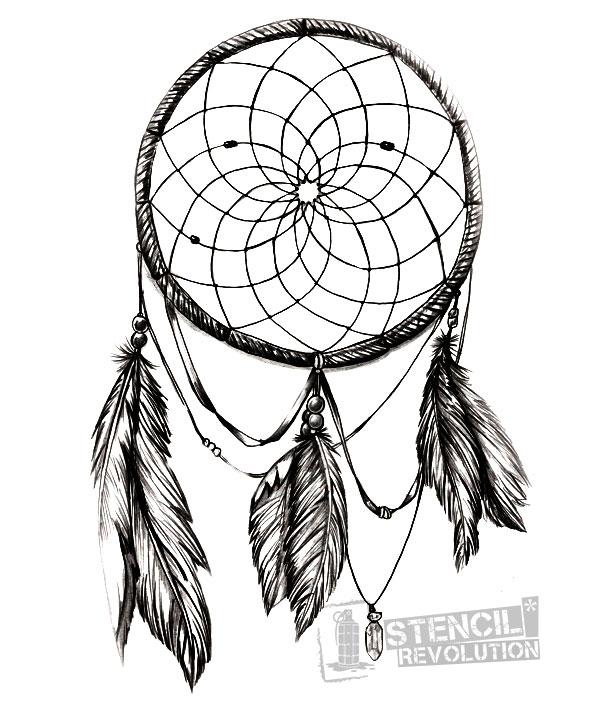 613x703 Drawn Dreamcatcher Stencil