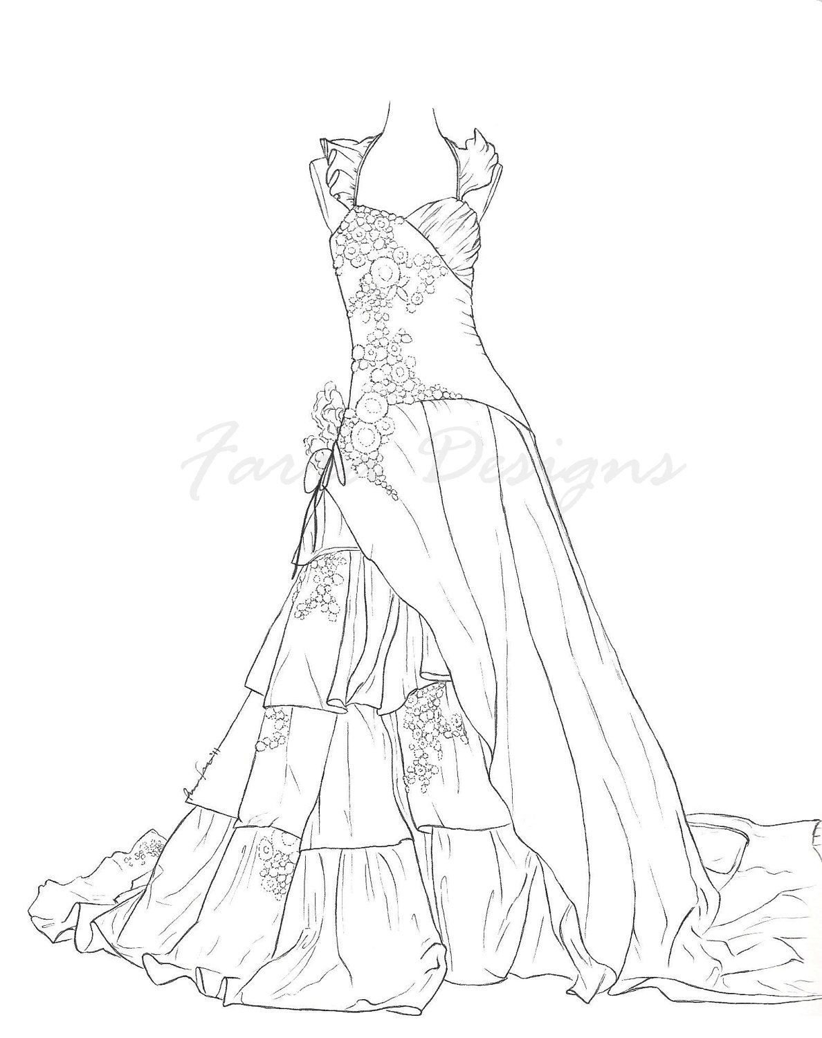 1188x1500 Pencil Sketch Of Barbi With Gown Drawing Of Back Of Dress
