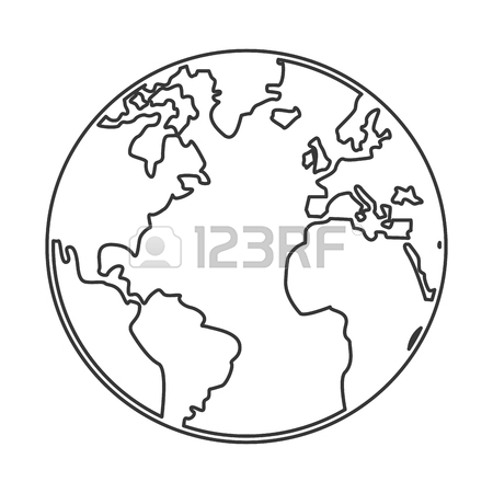 450x450 Simple Black Line Earth Globe With Distinction Between Earth
