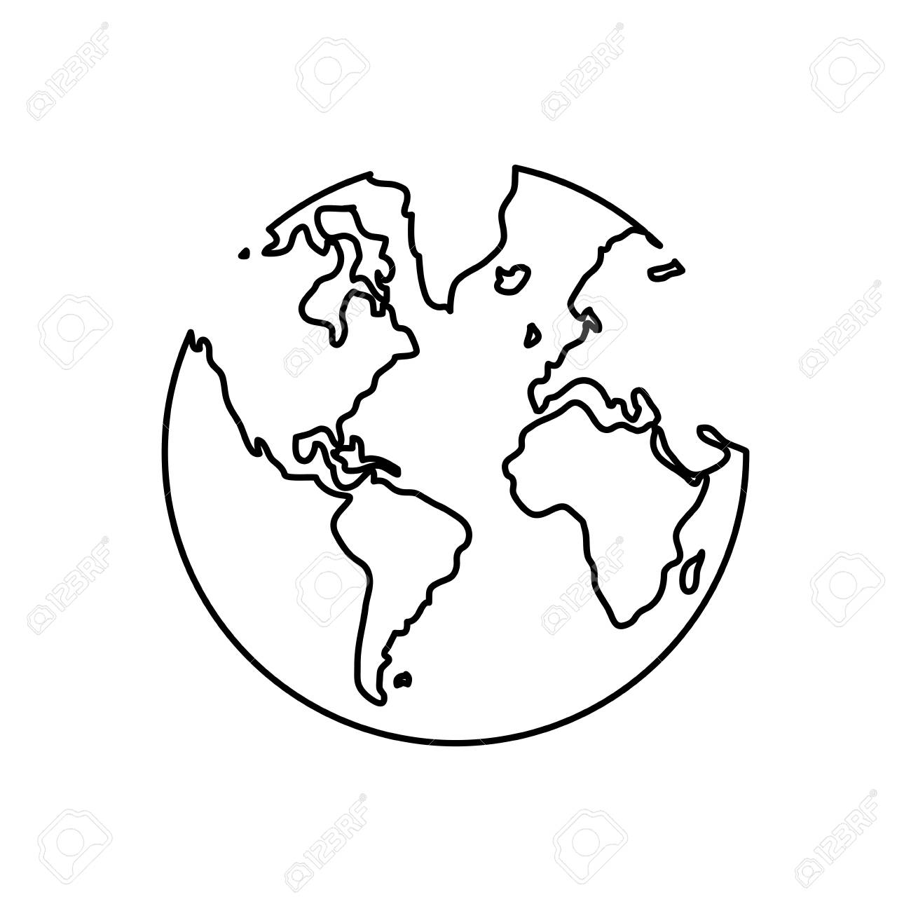 1300x1300 Simple Black Line Earth Globe With Water Land Distinction Vector