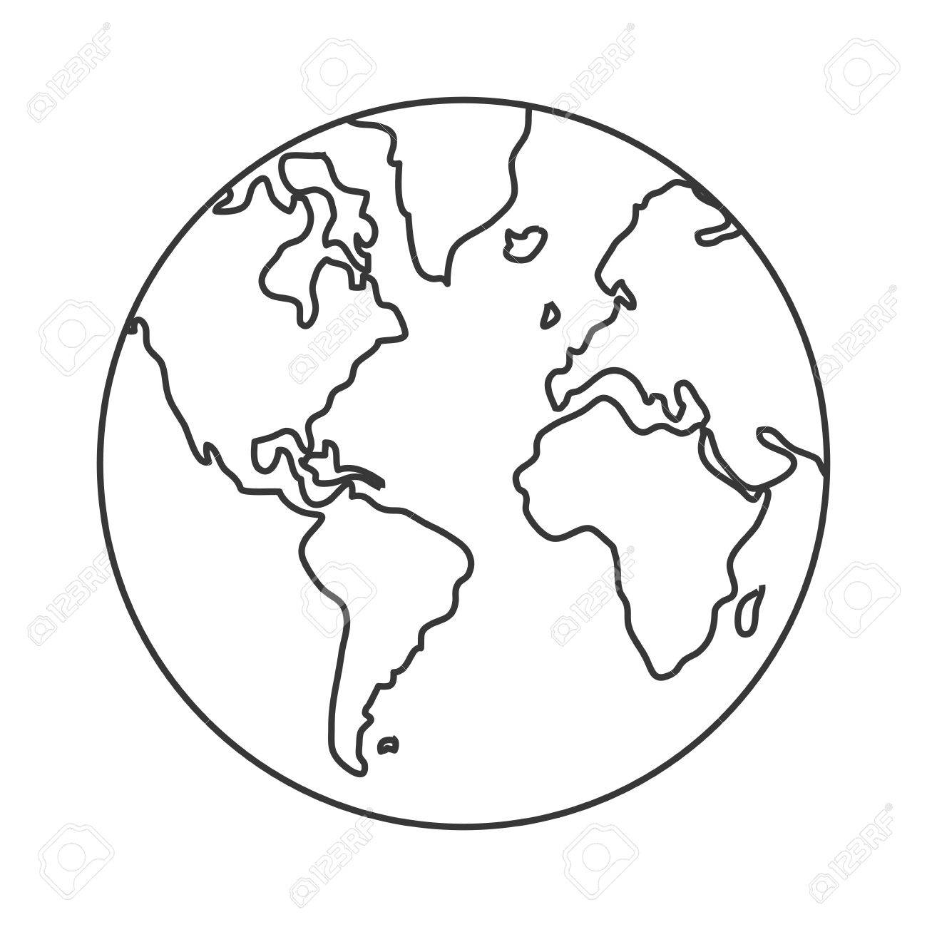 1300x1300 Simple Line Design Earth Globe With Distinction Between Water