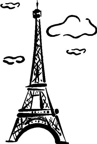 337x500 Eiffel Tower Wall Art Stickers Decals Graphics, Black