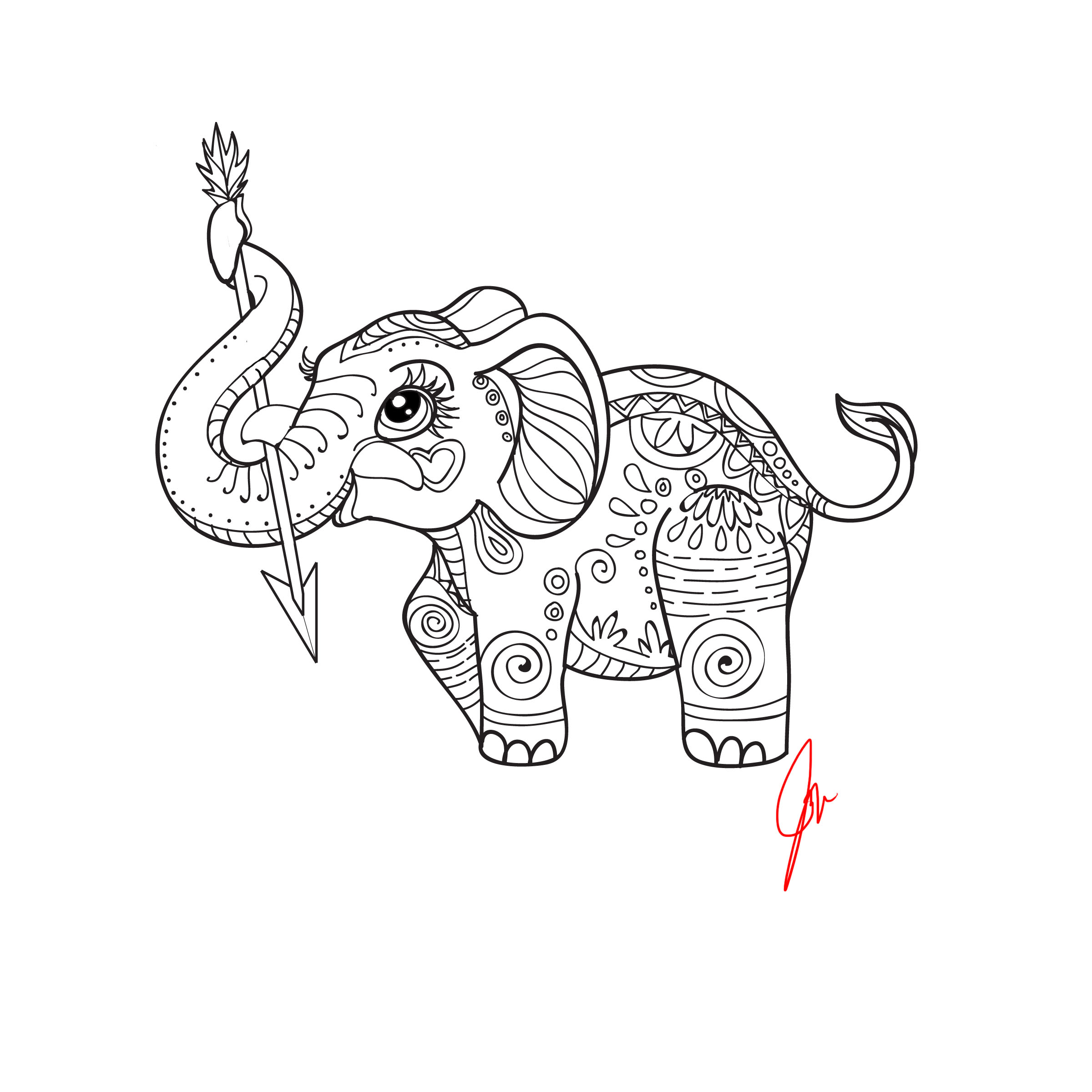 2400x2400 Simple Elephant Adult Coloring Book Elephant Adult Coloring Book
