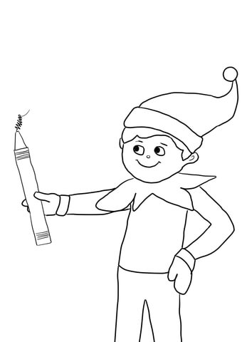 347x480 Elf On The Shelf With Pencil Coloring Page Free Printable