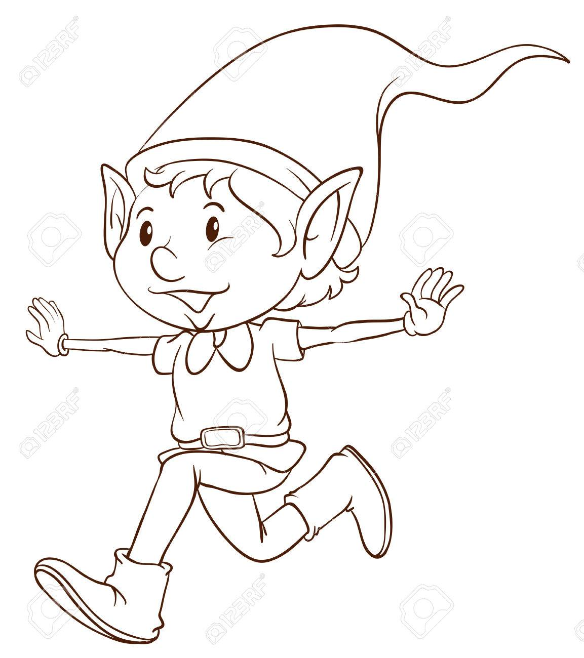 1153x1300 Illustration Of A Plain Drawing Of An Elf On A White Background