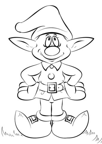 340x480 Christmas Elf Coloring Page Free Printable Coloring Pages