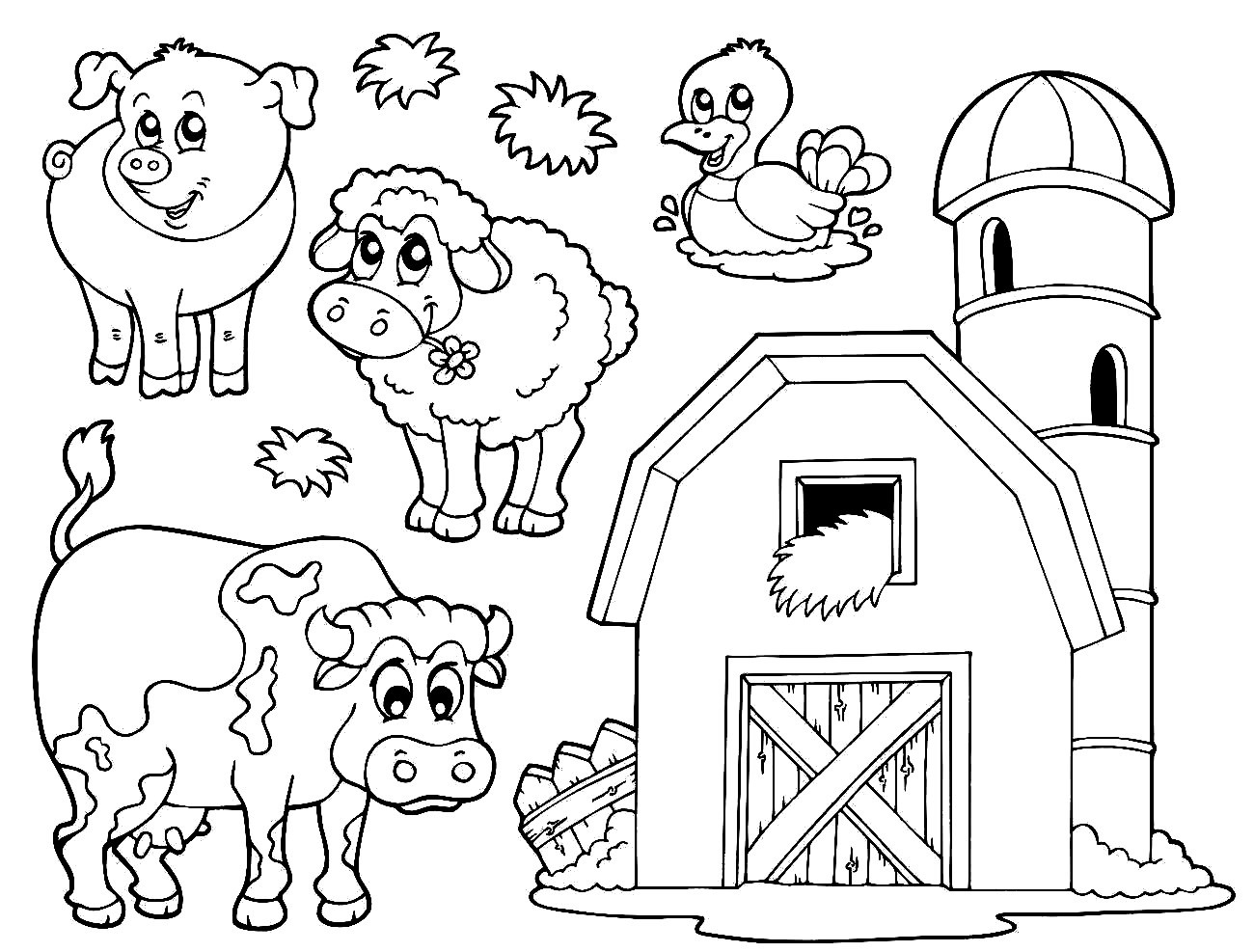 1300x987 Simple Farm Animal Coloring Pages Baby Farm Animal Coloring Pages