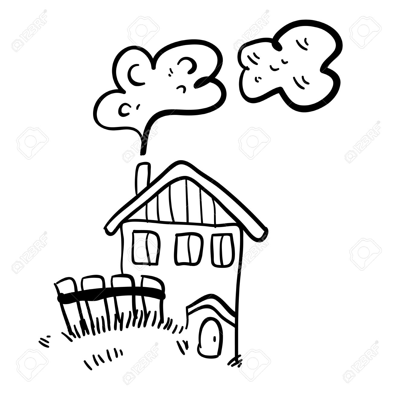 1300x1300 Cute Doodle Farm House On White Background. Simple Illustration
