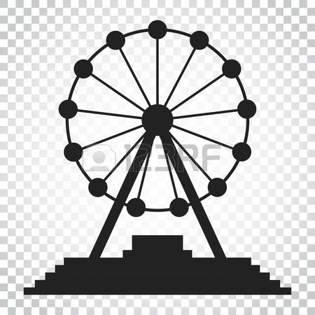 450x450 Ferris Wheel Vector Icon. Carousel In Park Icon. Amusement Ride
