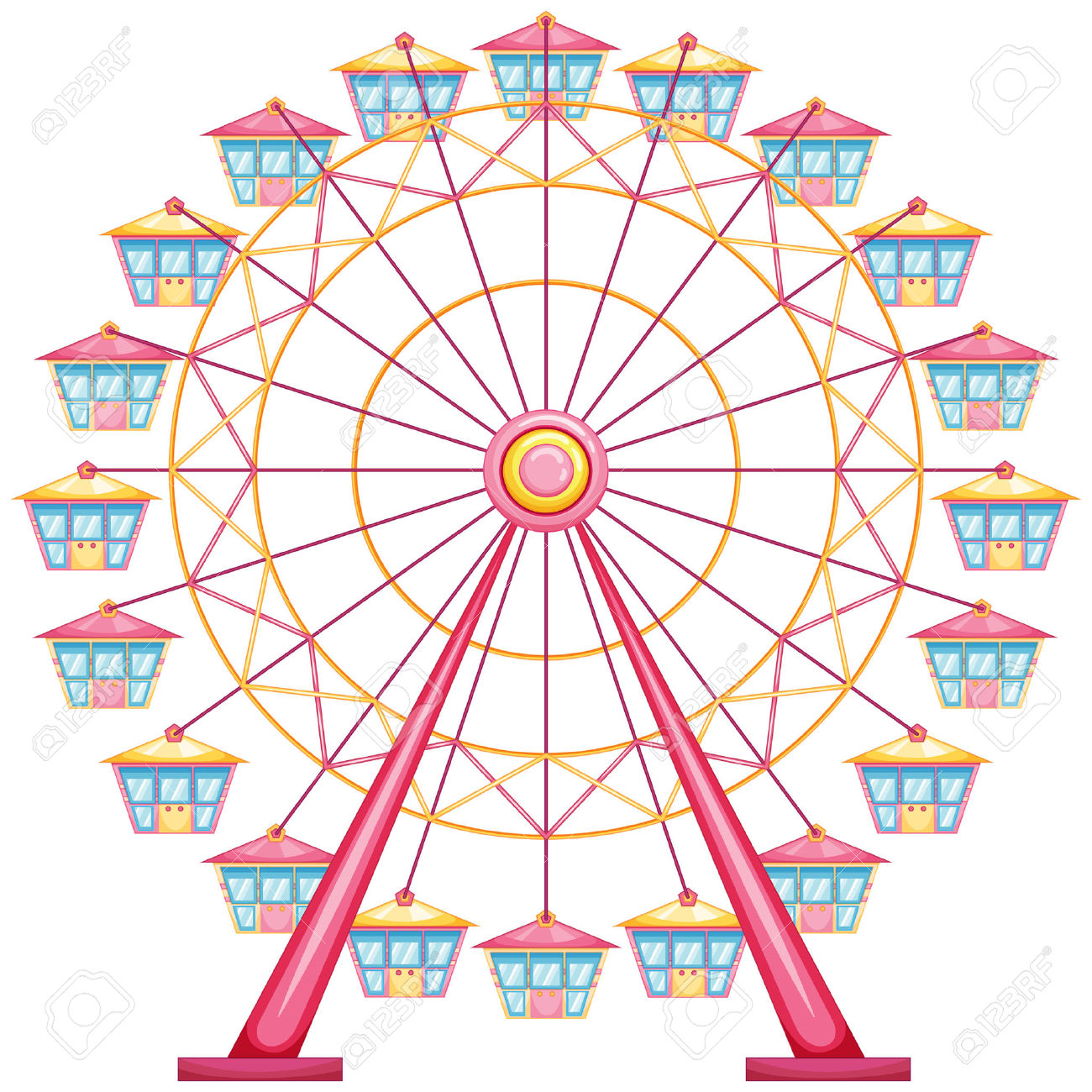 1300x1300 Ferris Wheel Clipart Vintage