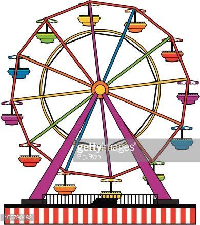390x439 Simple Ferris Wheel Cartoon Simple Ferris Wheel Vector Art Ty