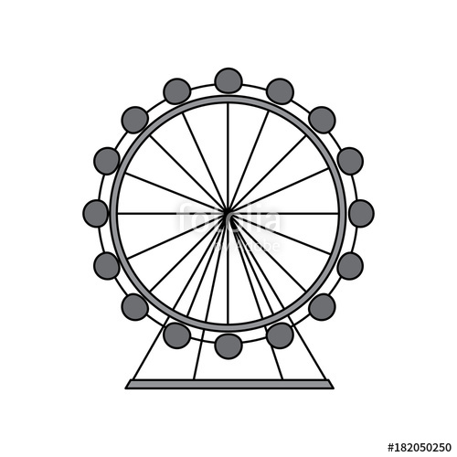 500x500 Ferris Wheel Icon Image Vector Illustration Design Grey Color