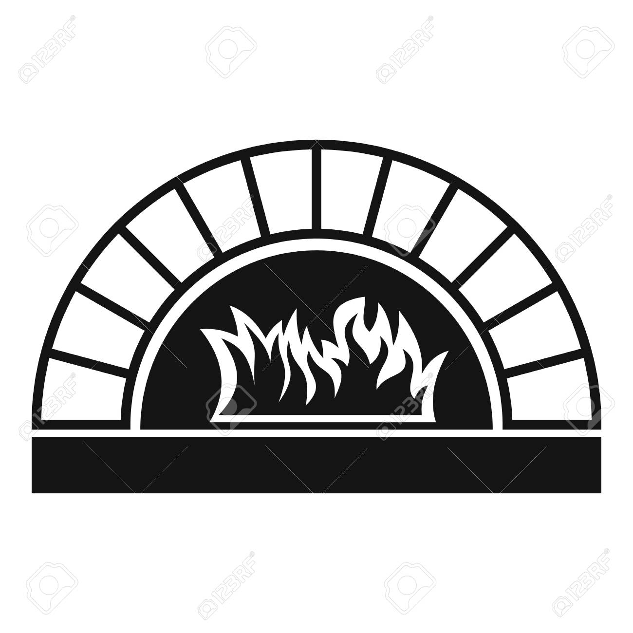 1300x1300 Pizza Oven Fire Icon. Simple Illustration Of Pizza Oven