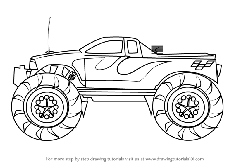 800x566 Learn How To Draw A Monster Truck (Trucks) Step By Step Drawing