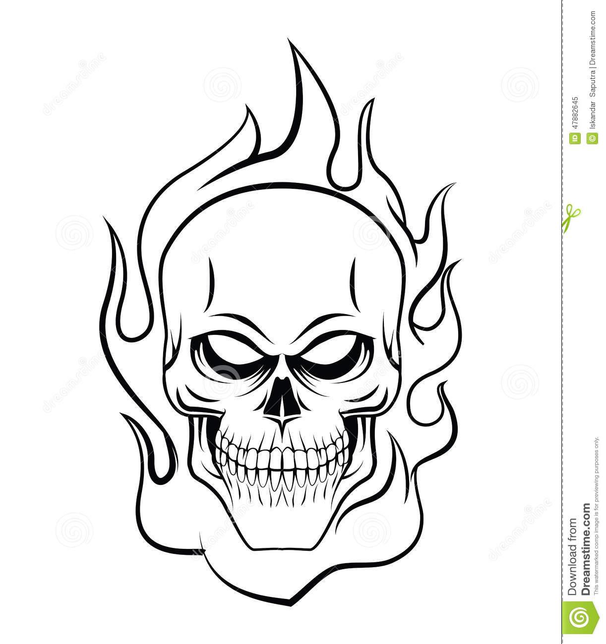 1222x1300 Skull On Fire Drawing Skull Fire Stock Vector
